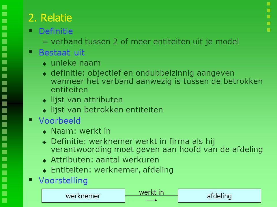 2. Relatie Definitie Bestaat uit Voorbeeld Voorstelling