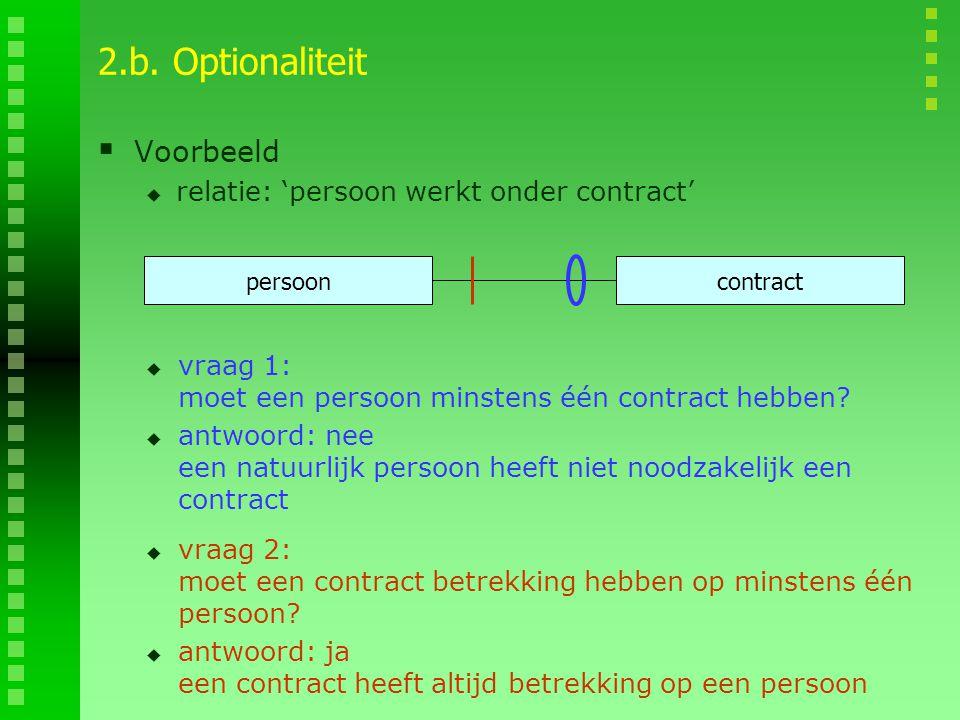 2.b. Optionaliteit Voorbeeld relatie: 'persoon werkt onder contract'