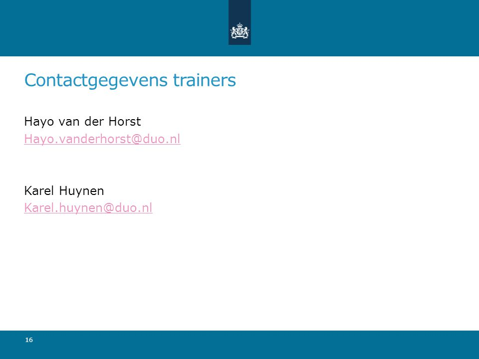 Contactgegevens trainers