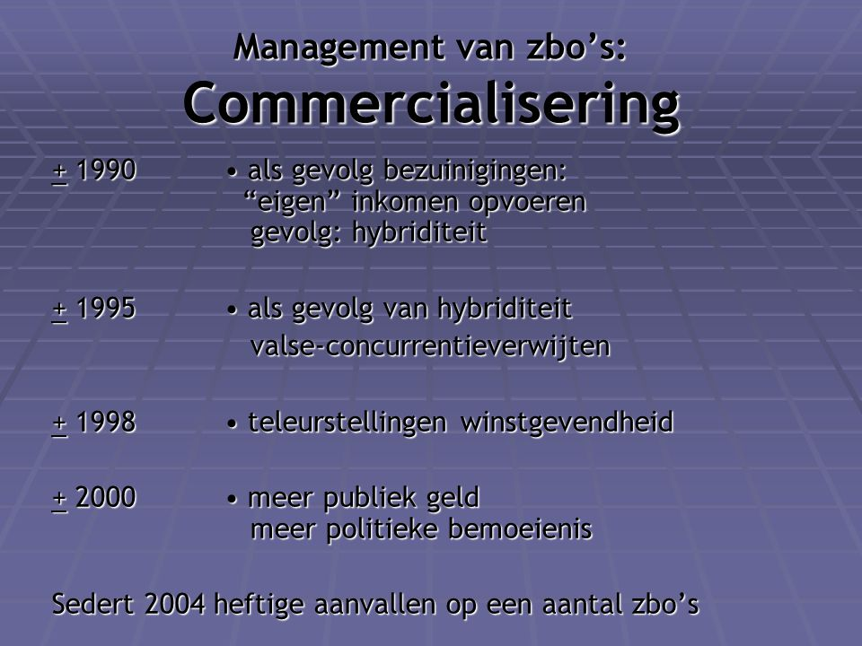 Management van zbo's: Commercialisering