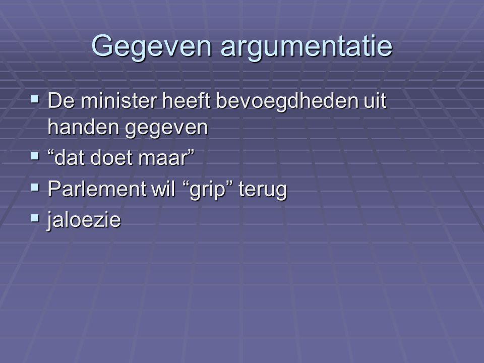 Gegeven argumentatie De minister heeft bevoegdheden uit handen gegeven