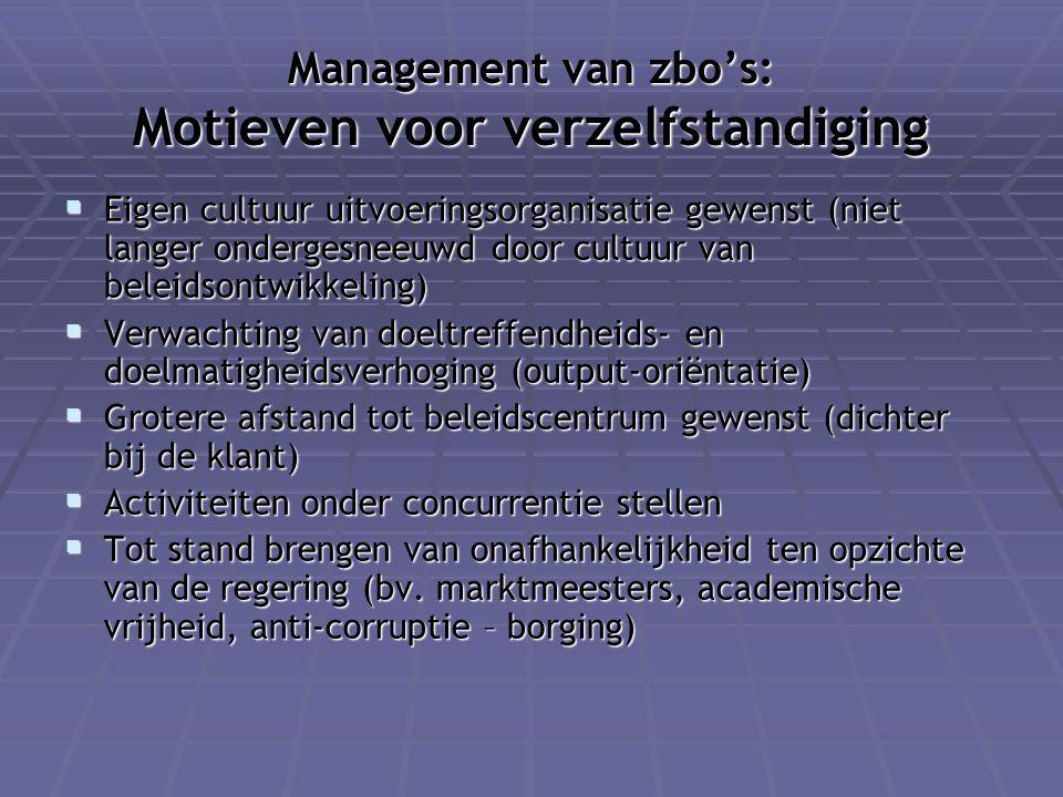 Management van zbo's: Motieven voor verzelfstandiging