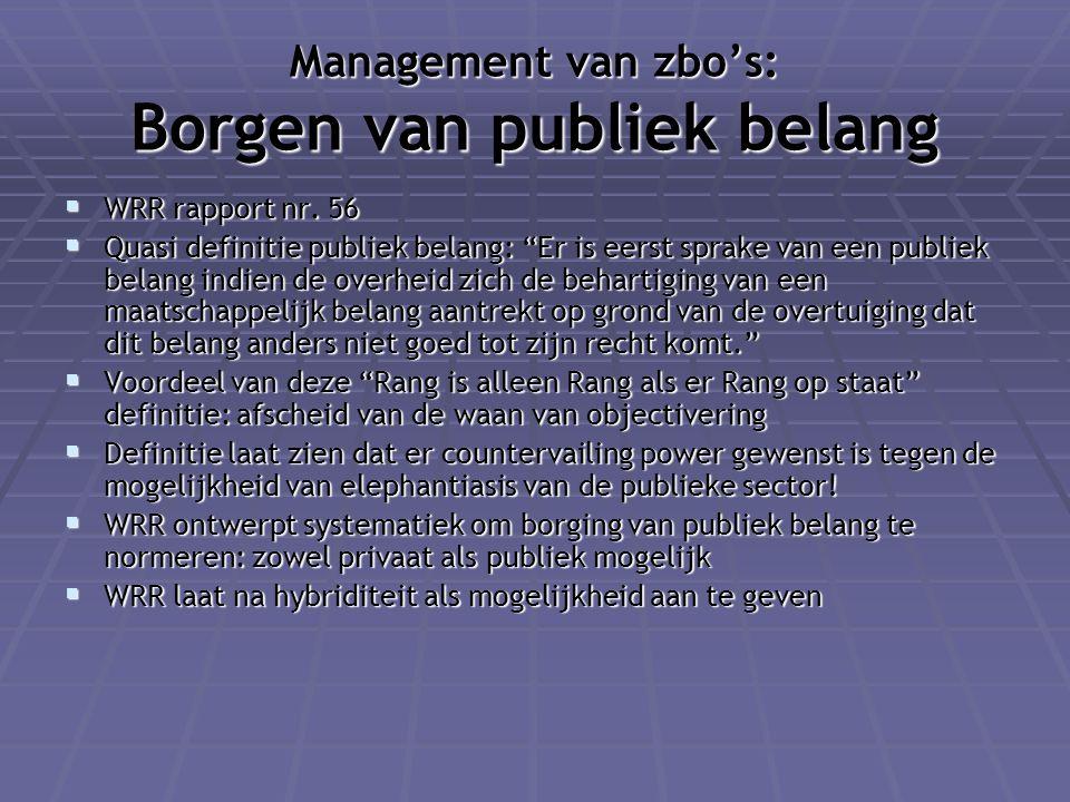 Management van zbo's: Borgen van publiek belang