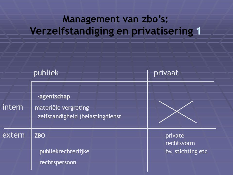 Management van zbo's: Verzelfstandiging en privatisering 1