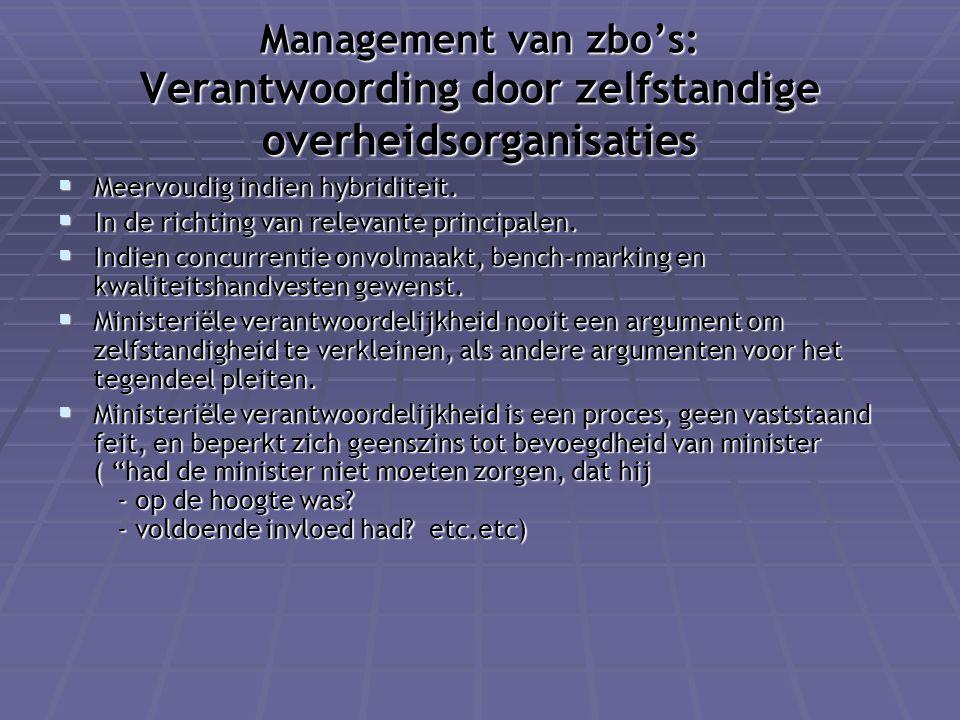 Management van zbo's: Verantwoording door zelfstandige overheidsorganisaties