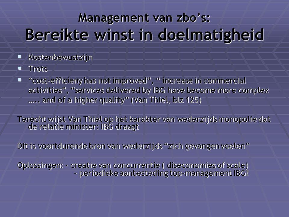 Management van zbo's: Bereikte winst in doelmatigheid