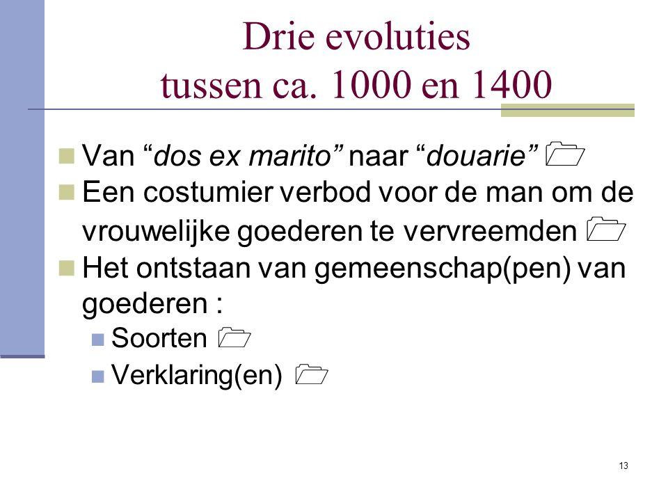 Drie evoluties tussen ca. 1000 en 1400