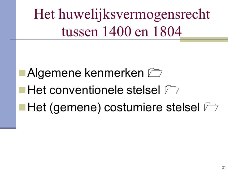 Het huwelijksvermogensrecht tussen 1400 en 1804