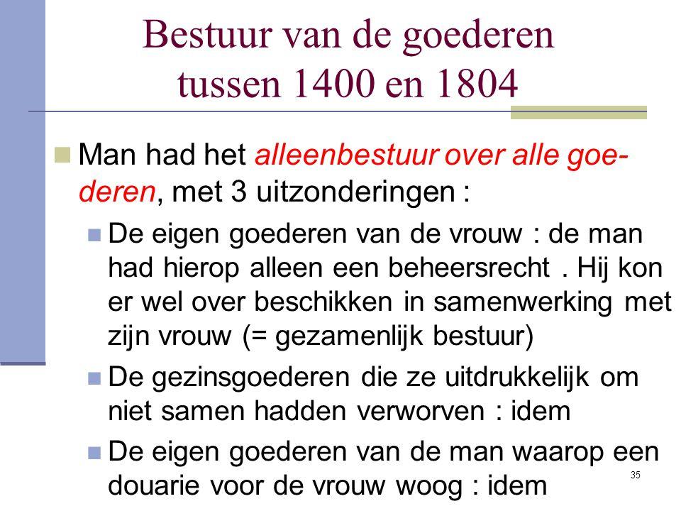 Bestuur van de goederen tussen 1400 en 1804