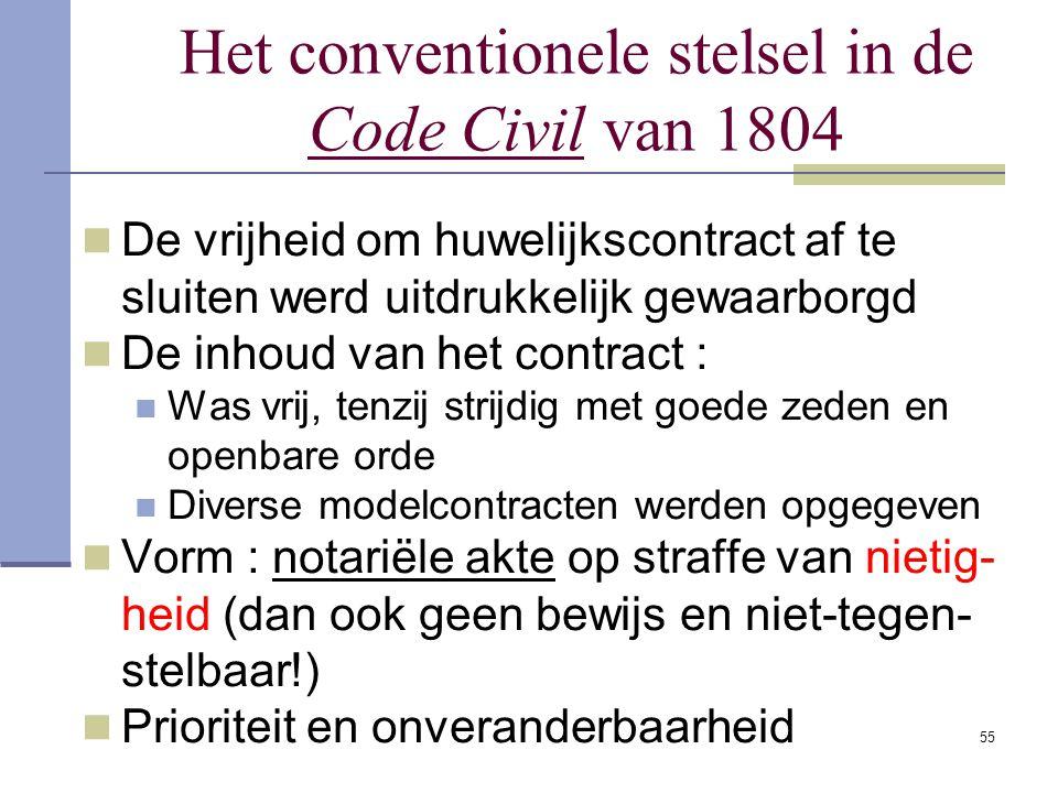 Het conventionele stelsel in de Code Civil van 1804
