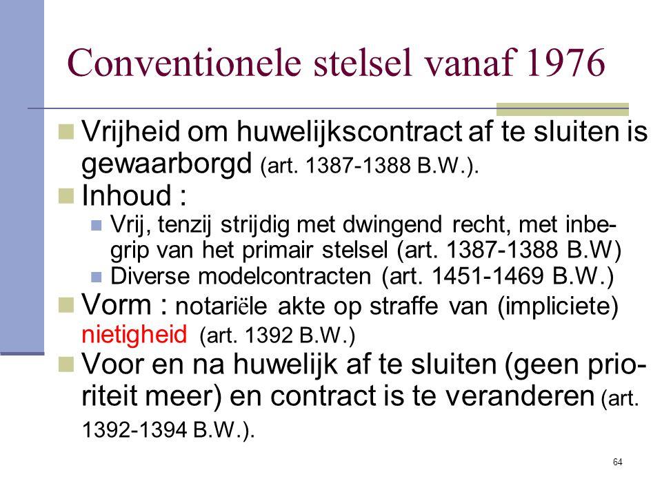 Conventionele stelsel vanaf 1976