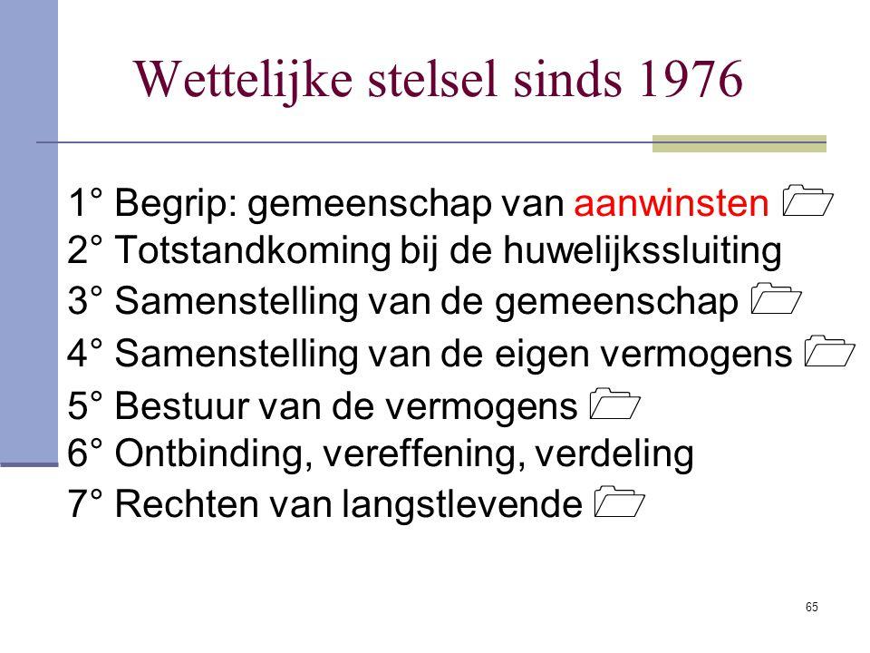 Wettelijke stelsel sinds 1976
