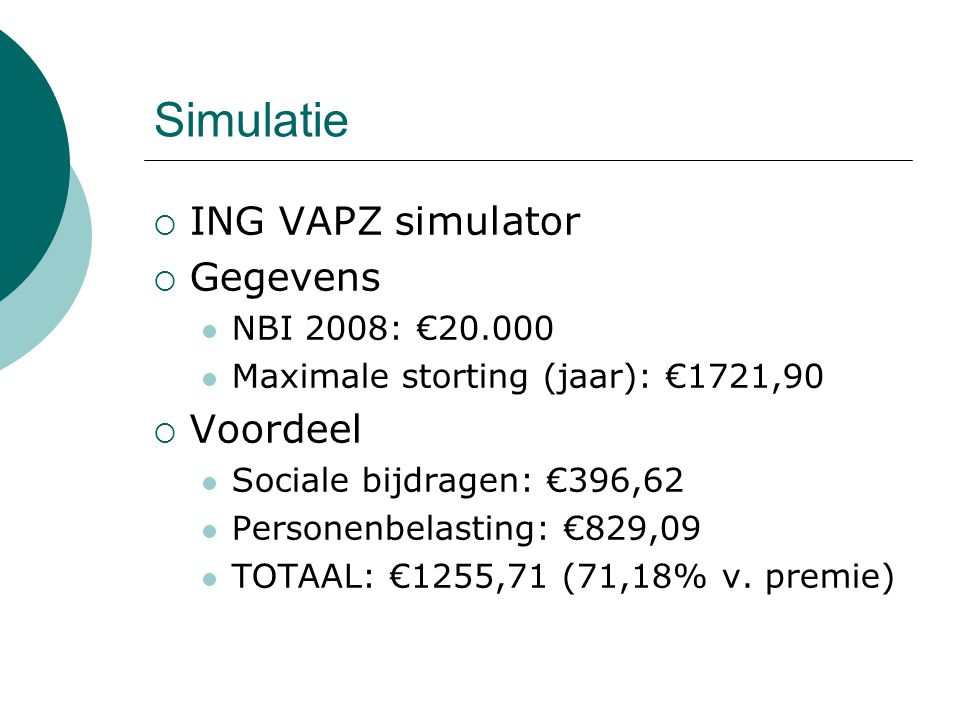 Simulatie ING VAPZ simulator Gegevens Voordeel NBI 2008: €20.000