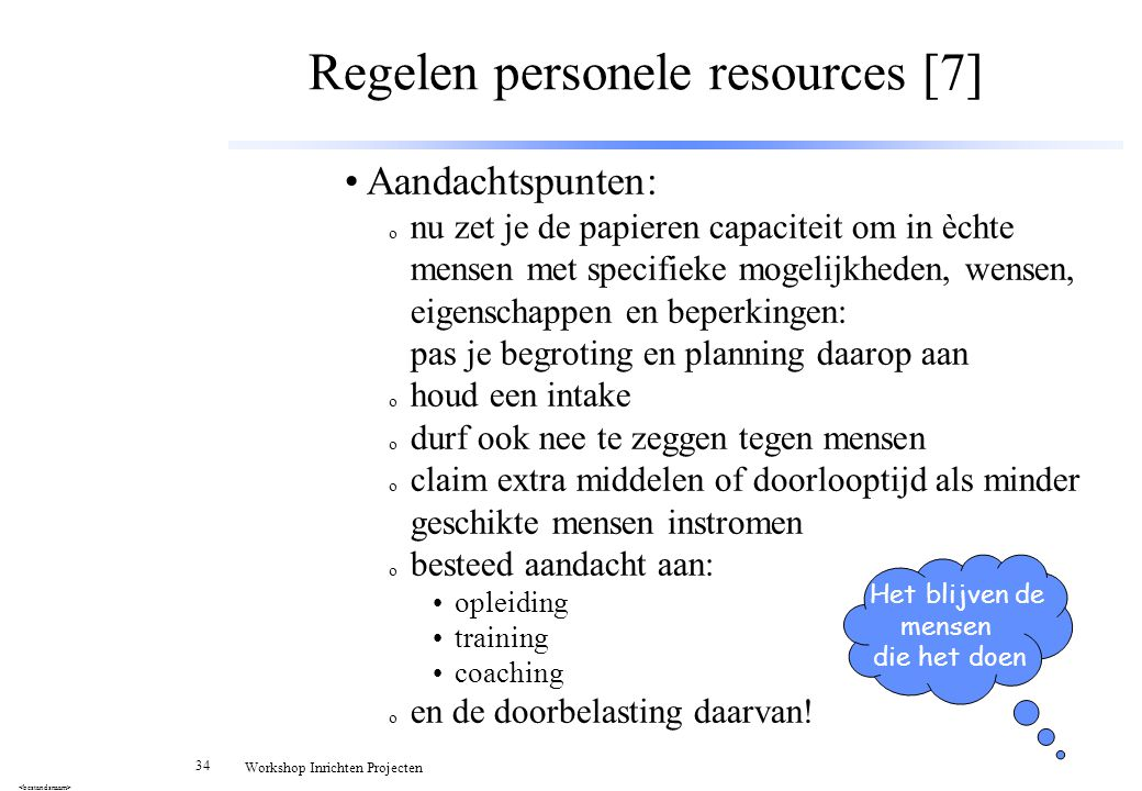 Regelen personele resources [7]