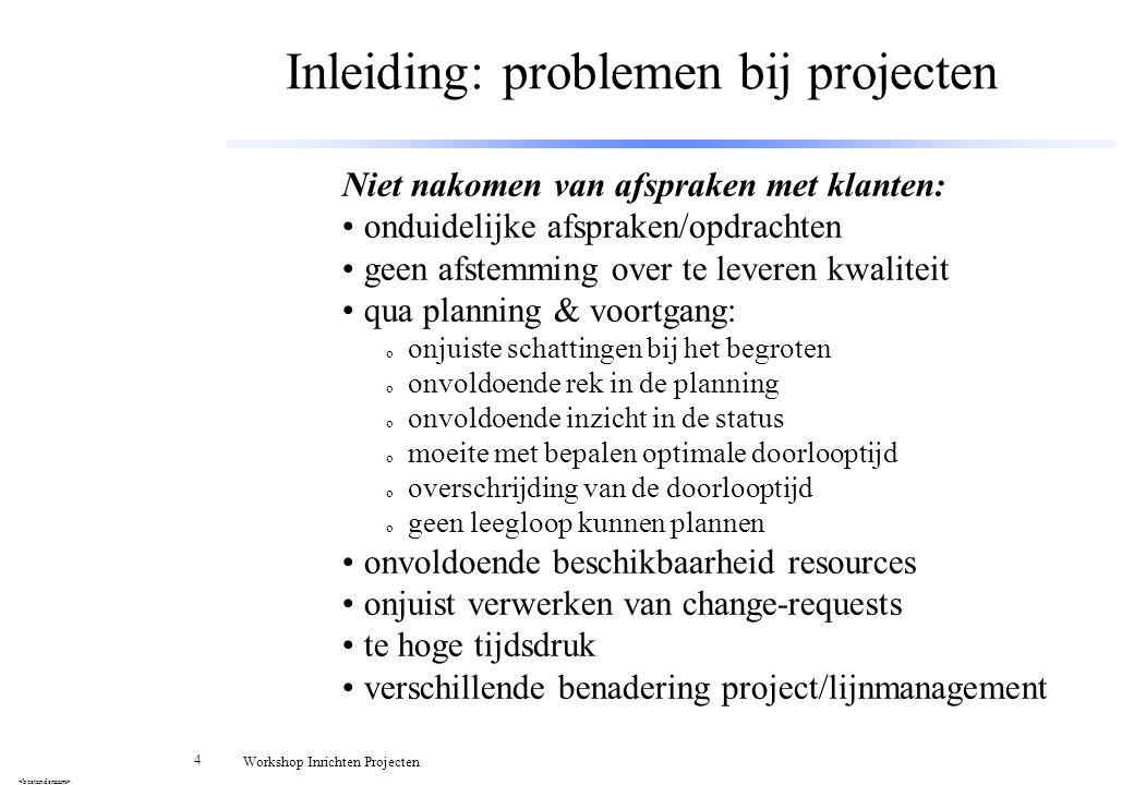 Inleiding: problemen bij projecten