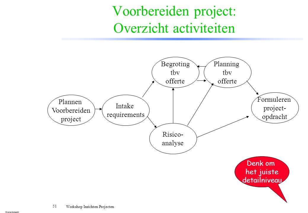 Voorbereiden project: Overzicht activiteiten
