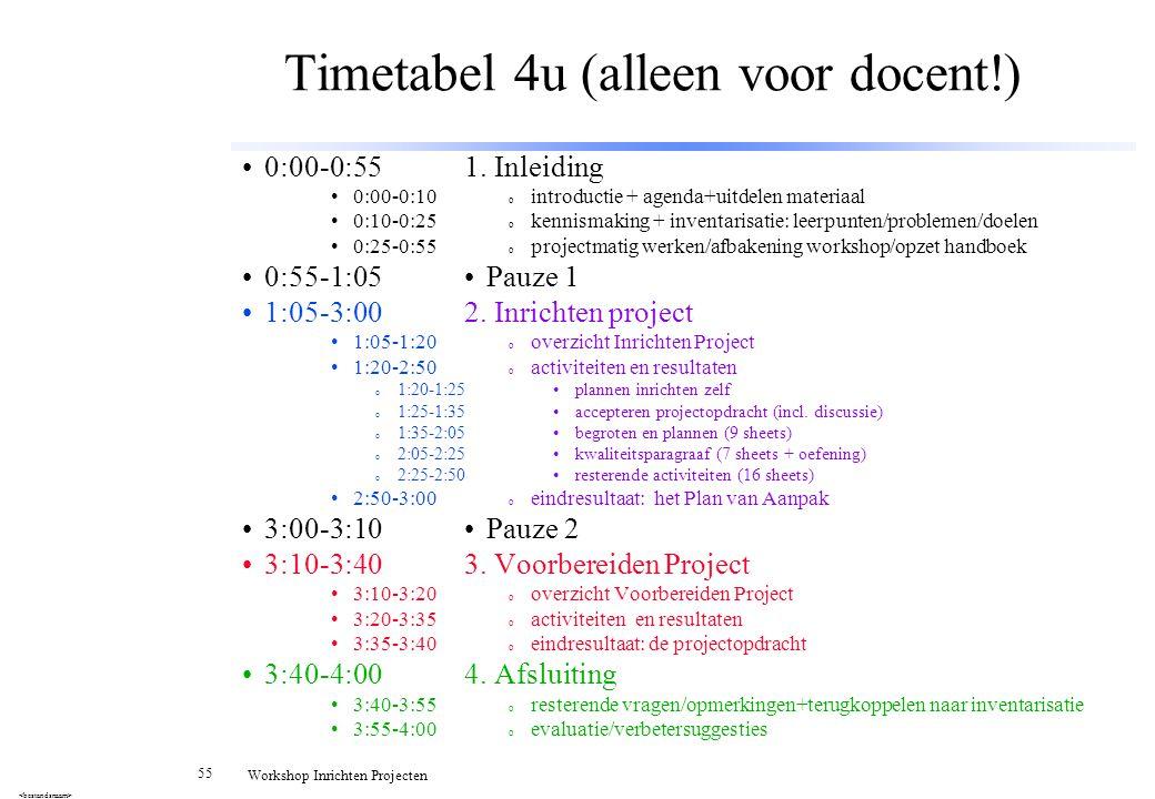 Timetabel 4u (alleen voor docent!)