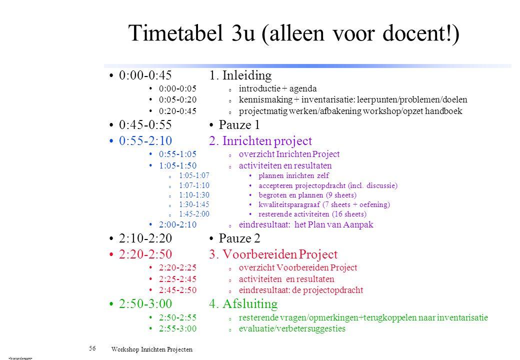Timetabel 3u (alleen voor docent!)