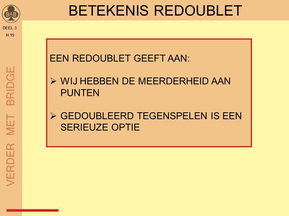 BETEKENIS REDOUBLET EEN REDOUBLET GEEFT AAN: