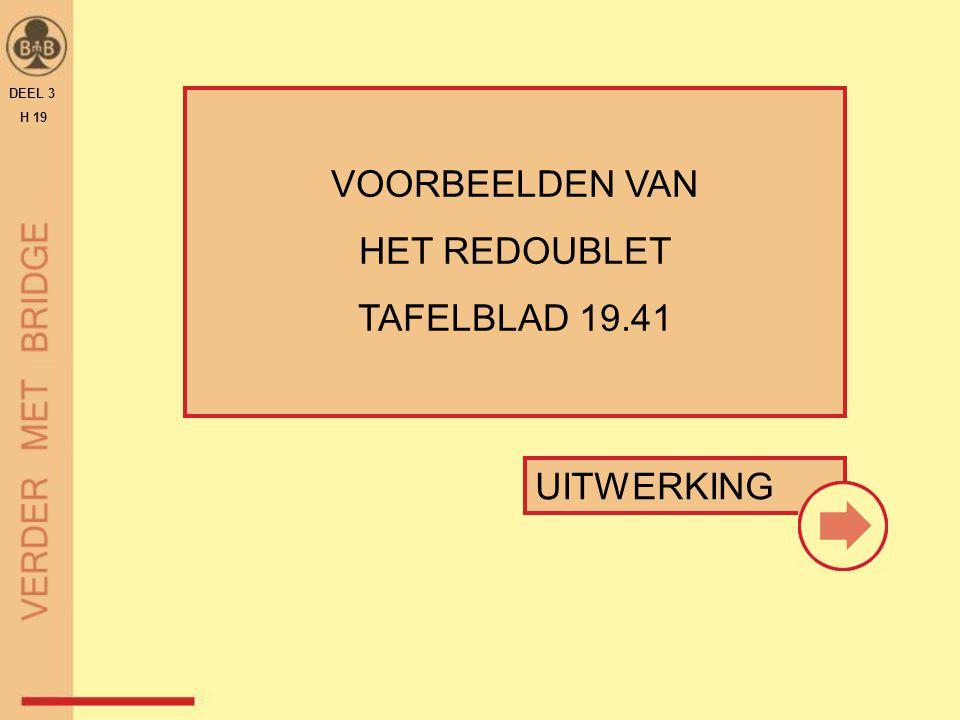 DEEL 3 H 19 VOORBEELDEN VAN HET REDOUBLET TAFELBLAD 19.41 UITWERKING