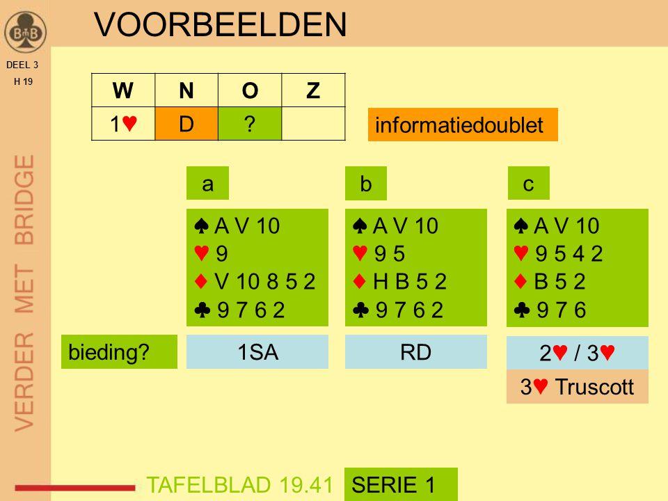 VOORBEELDEN W N O Z 1♥ D informatiedoublet a b c ♠ A V 10 ♥ 9