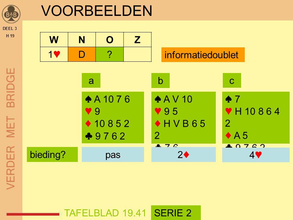 VOORBEELDEN W N O Z 1♥ D informatiedoublet a b c ♠ A 10 7 6 ♥ 9