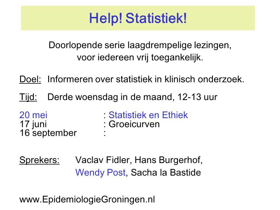Help! Statistiek! Doorlopende serie laagdrempelige lezingen,