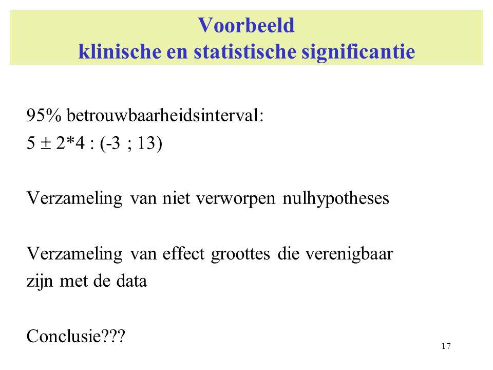 Voorbeeld klinische en statistische significantie