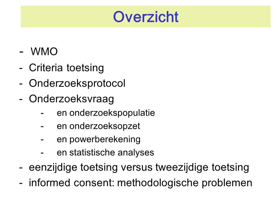 Overzicht WMO Criteria toetsing Onderzoeksprotocol Onderzoeksvraag