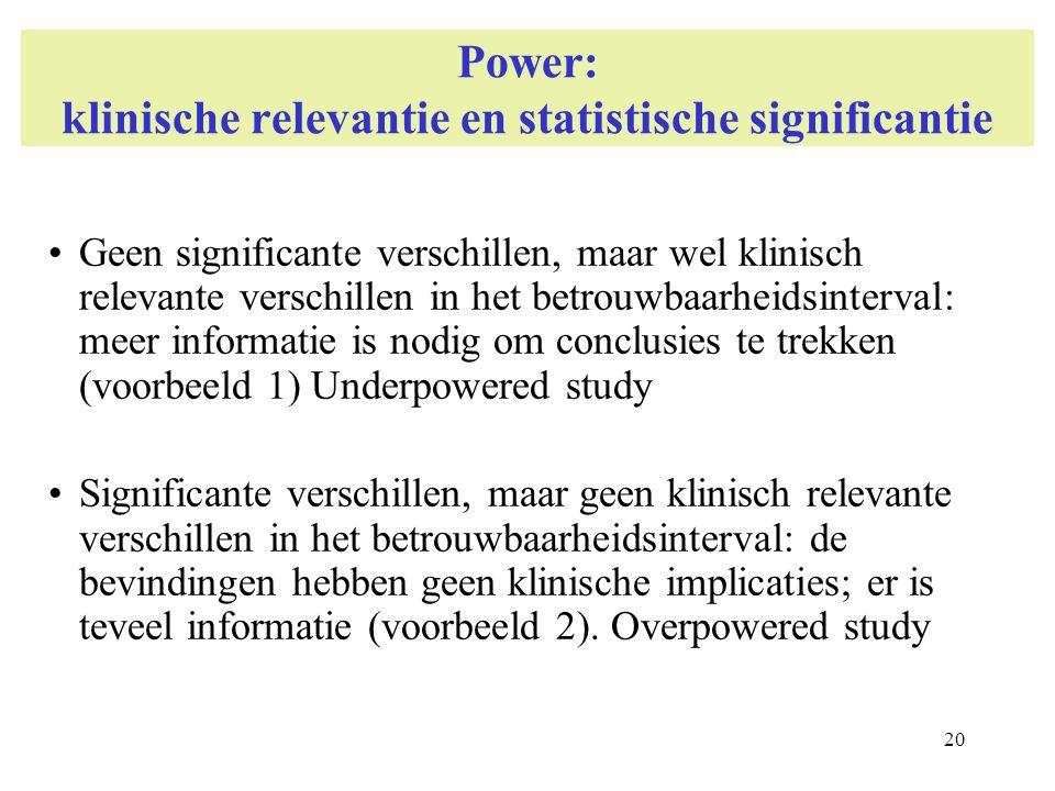 Power: klinische relevantie en statistische significantie