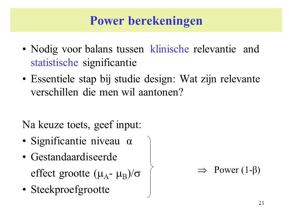 Power berekeningen Nodig voor balans tussen klinische relevantie and statistische significantie.