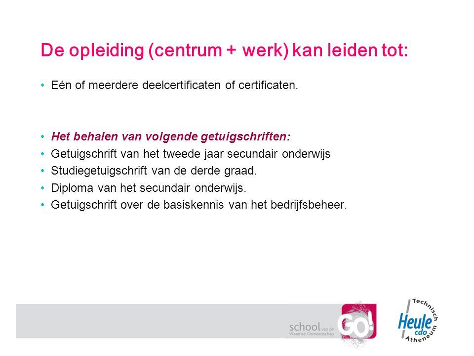 De opleiding (centrum + werk) kan leiden tot: