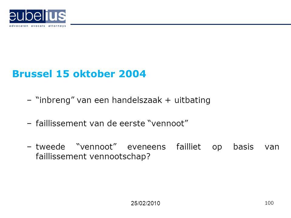 Brussel 15 oktober 2004 inbreng van een handelszaak + uitbating