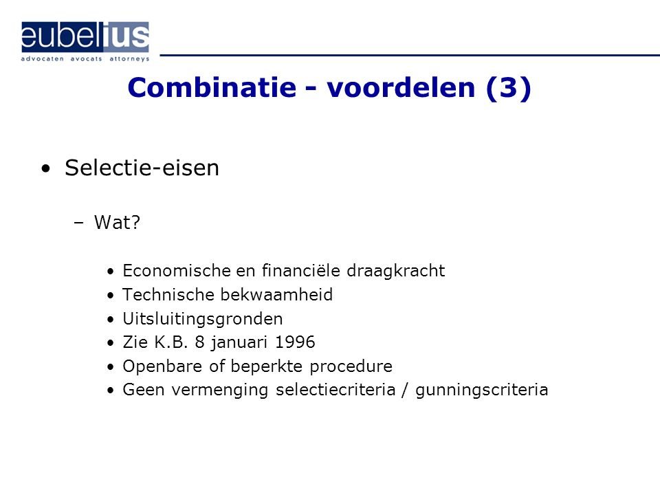 Combinatie - voordelen (3)