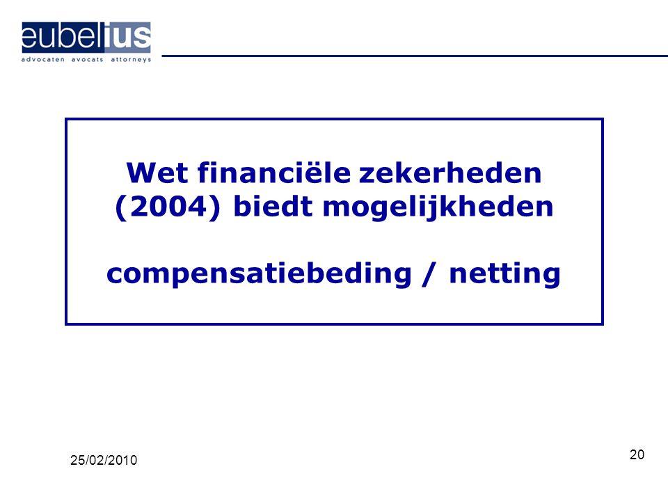 Wet financiële zekerheden (2004) biedt mogelijkheden compensatiebeding / netting
