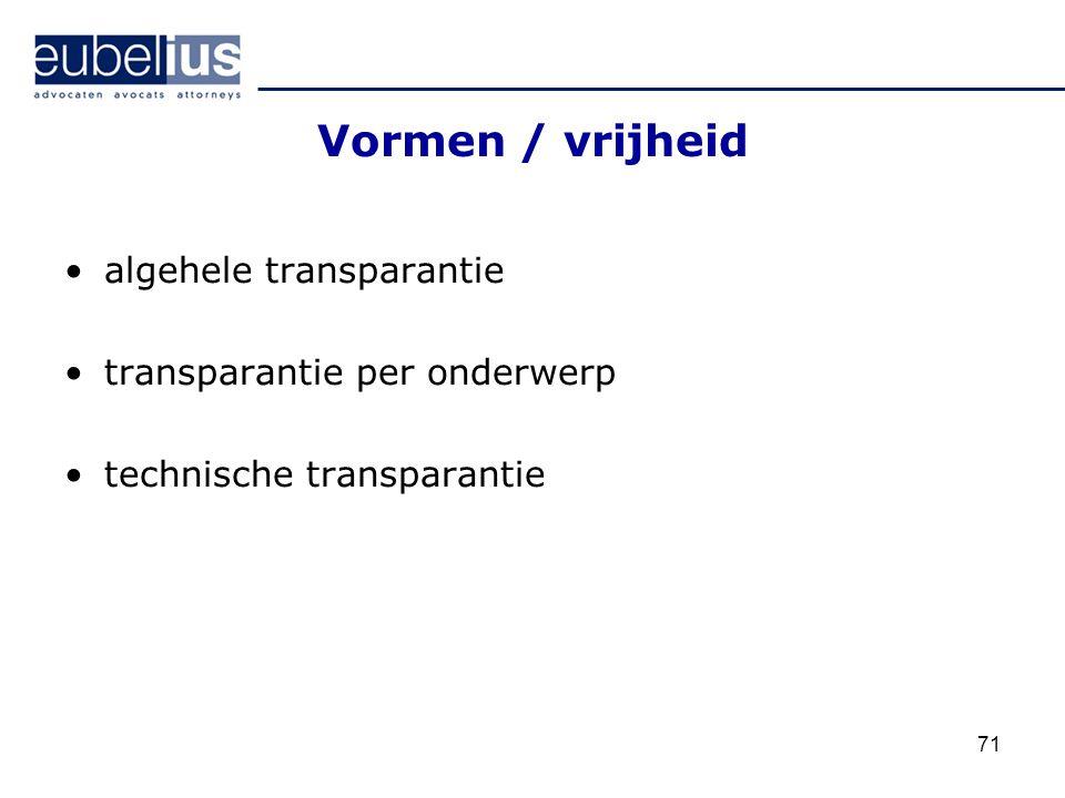 Vormen / vrijheid algehele transparantie transparantie per onderwerp