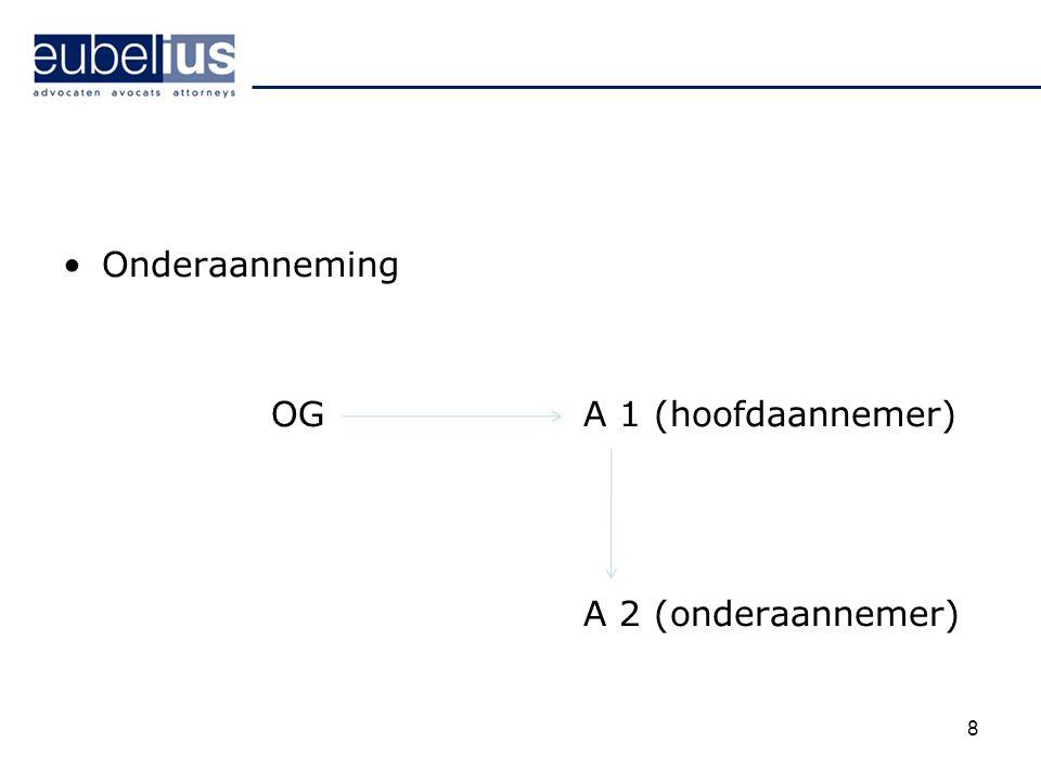 Onderaanneming OG A 1 (hoofdaannemer) A 2 (onderaannemer)