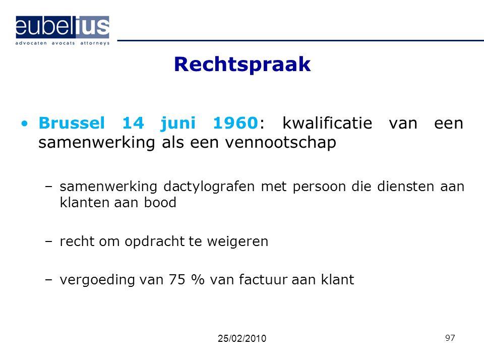 Rechtspraak Brussel 14 juni 1960: kwalificatie van een samenwerking als een vennootschap.