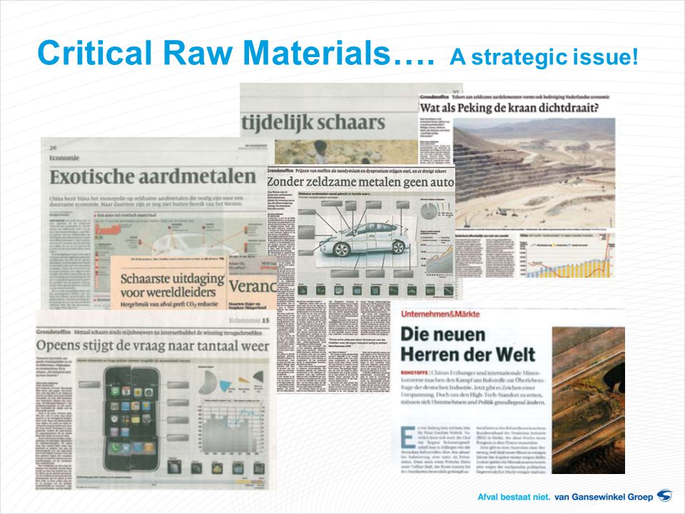 Critical Raw Materials…. A strategic issue!