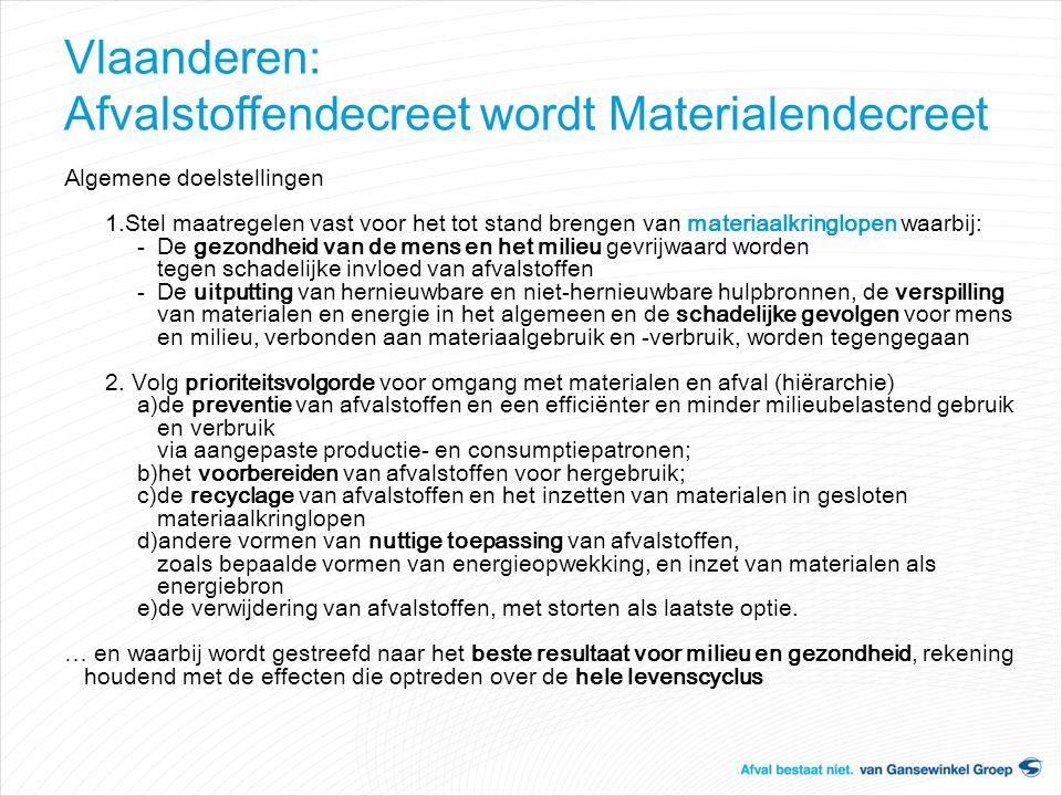 Vlaanderen: Afvalstoffendecreet wordt Materialendecreet