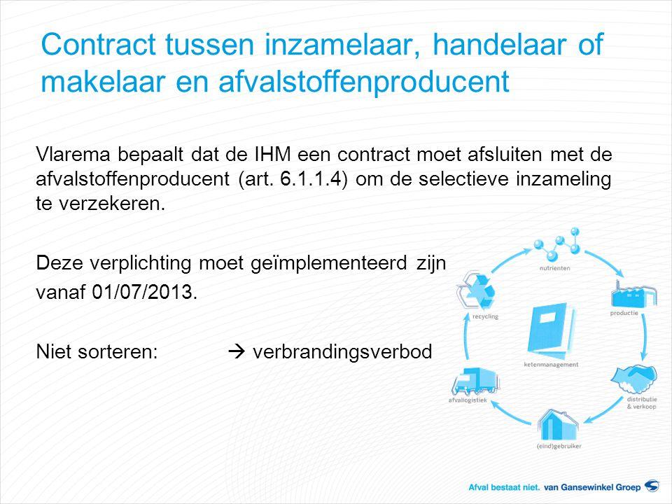 Contract tussen inzamelaar, handelaar of makelaar en afvalstoffenproducent