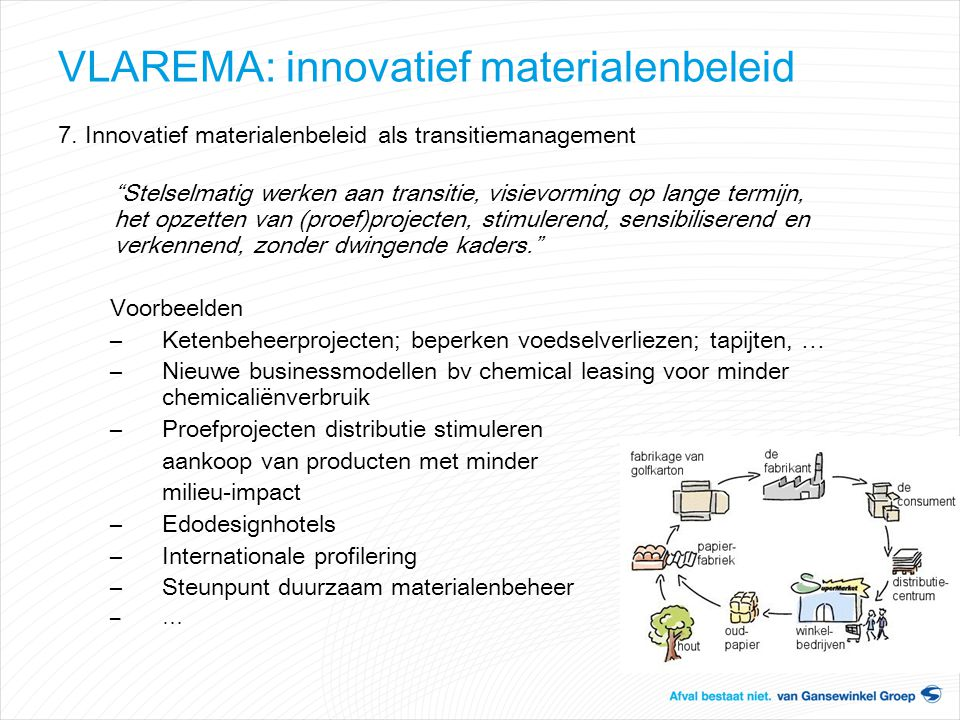 VLAREMA: innovatief materialenbeleid