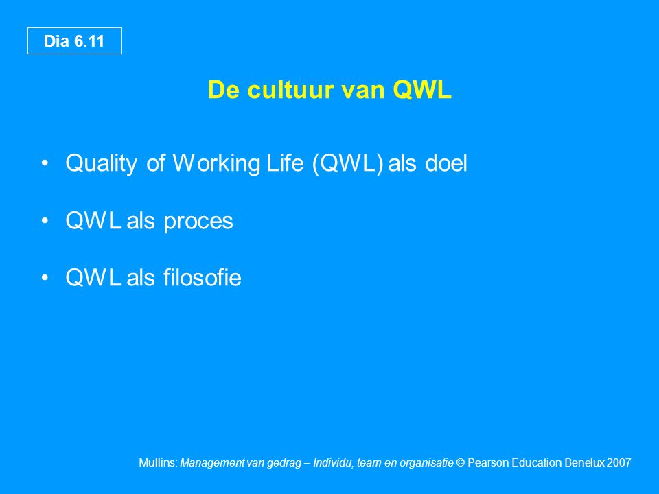 De cultuur van QWL Quality of Working Life (QWL) als doel