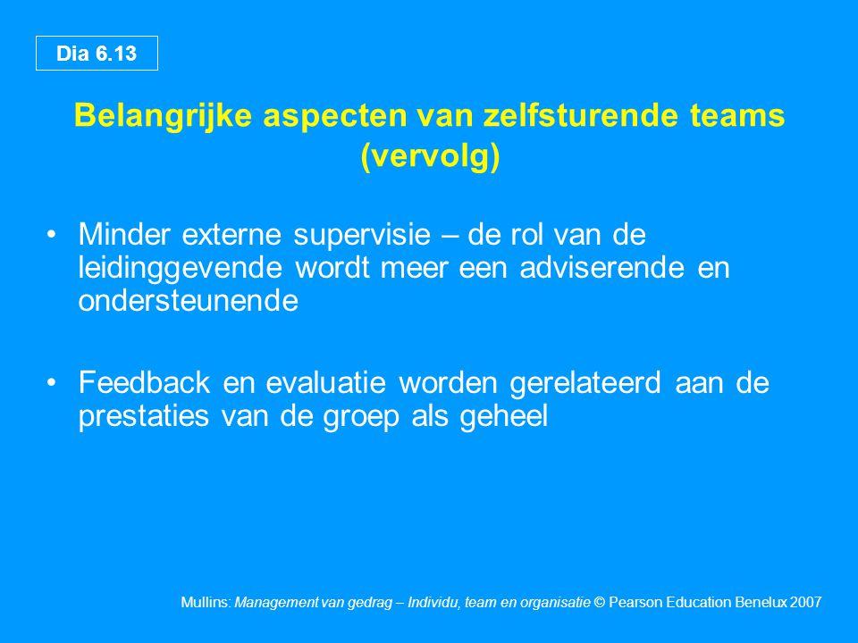Belangrijke aspecten van zelfsturende teams (vervolg)