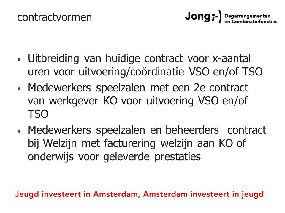 contractvormen Uitbreiding van huidige contract voor x-aantal uren voor uitvoering/coördinatie VSO en/of TSO.
