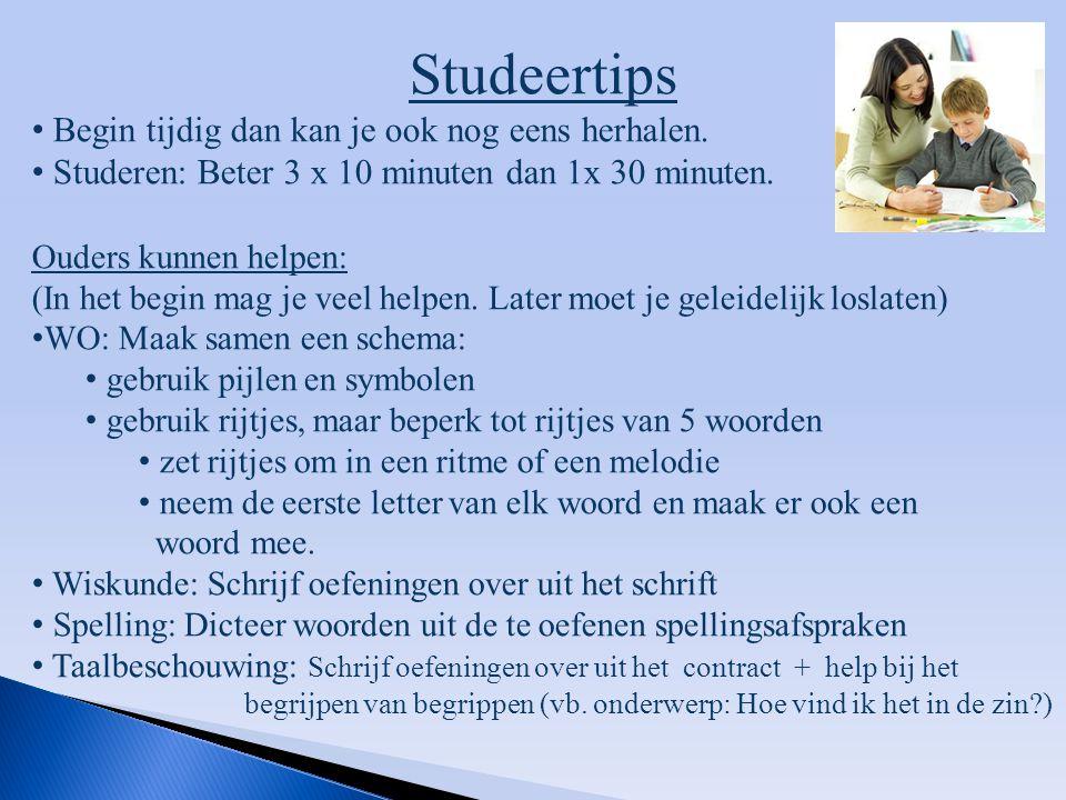 Studeertips Begin tijdig dan kan je ook nog eens herhalen.