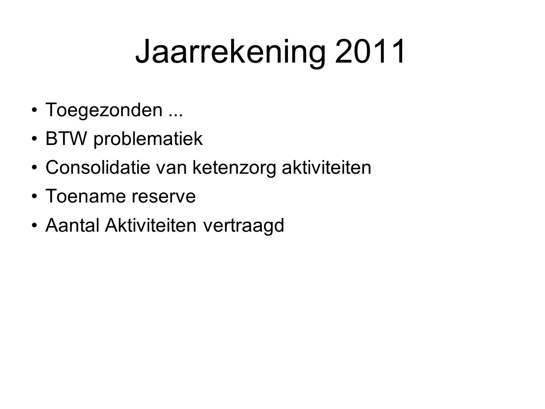 Jaarrekening 2011 Toegezonden ... BTW problematiek