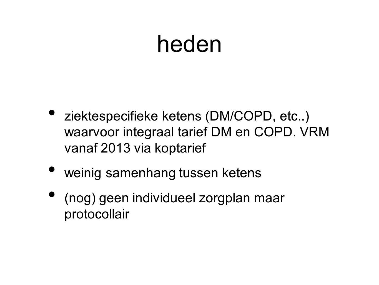 heden ziektespecifieke ketens (DM/COPD, etc..) waarvoor integraal tarief DM en COPD. VRM vanaf 2013 via koptarief.