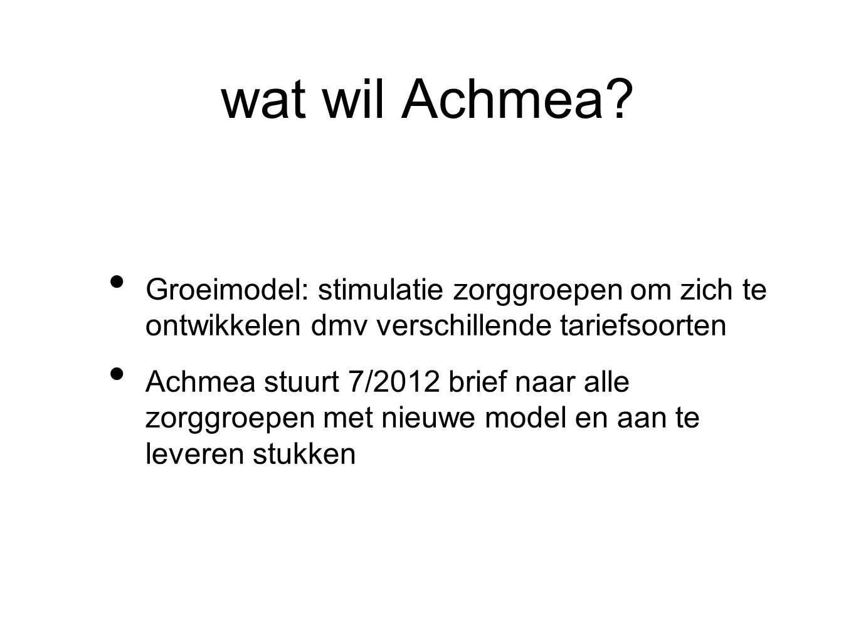 wat wil Achmea Groeimodel: stimulatie zorggroepen om zich te ontwikkelen dmv verschillende tariefsoorten.