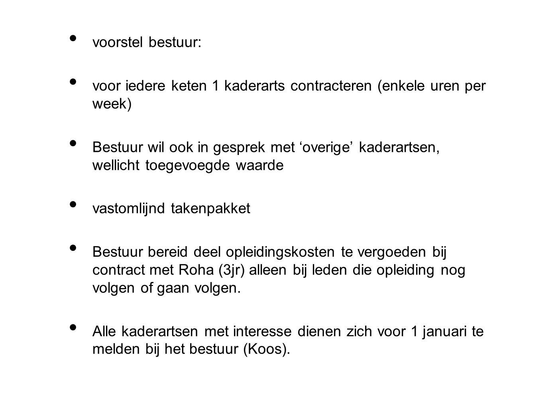 voorstel bestuur: voor iedere keten 1 kaderarts contracteren (enkele uren per week)